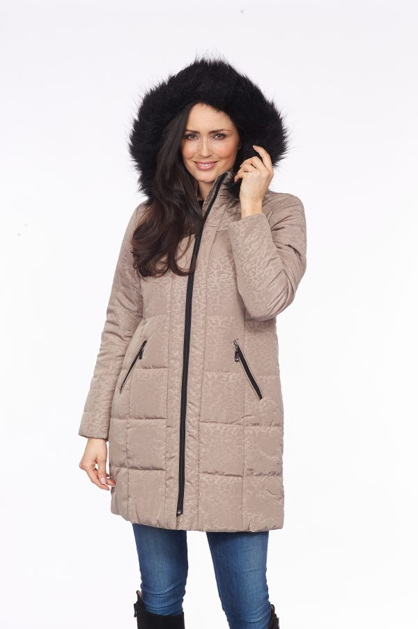 Faux-Fur-Trim-Padded-Print-Puffer-front