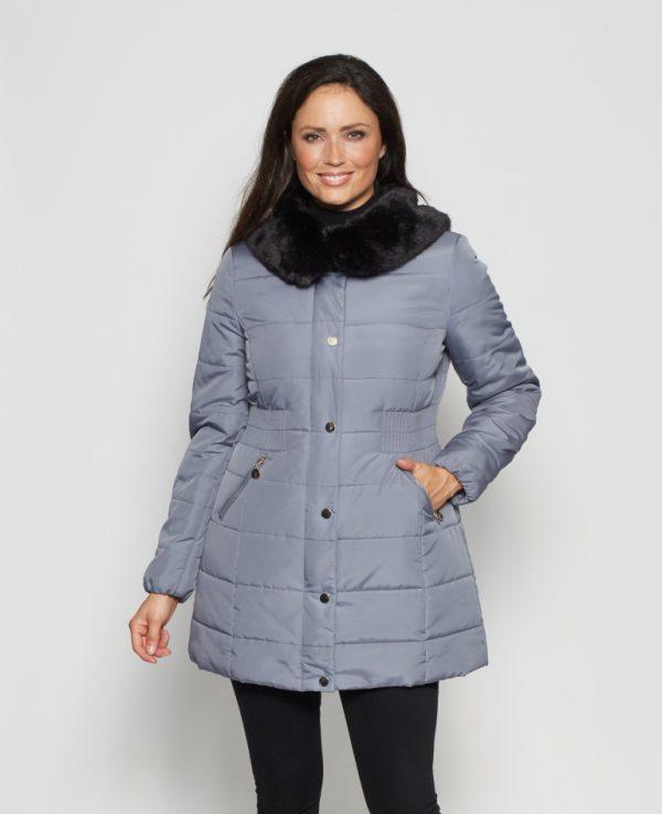 Rouched-Waist-Fur-Trim-Anorak-front-blue
