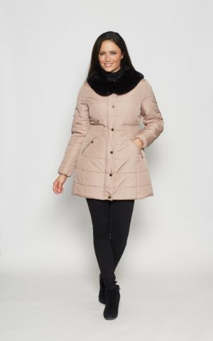 Rouched-Waist-Fur-Trim-Anorak-front-taupe