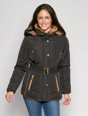 Belted-Fur-Trim-Hooded-Padded-Anorak-front