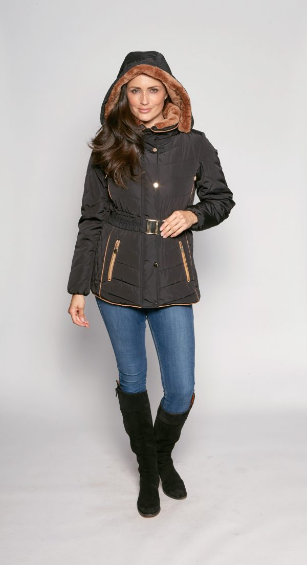Belted-Fur-Trim-Hooded-Padded-Anorak-front-1