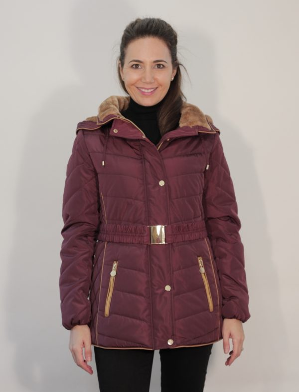 Belted-Fur-Trim-Hooded-Padded-Anorak-front-plum