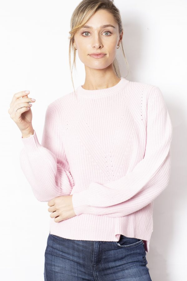 Detailed-Knit-with-Flared-Sleeves-Pink-front