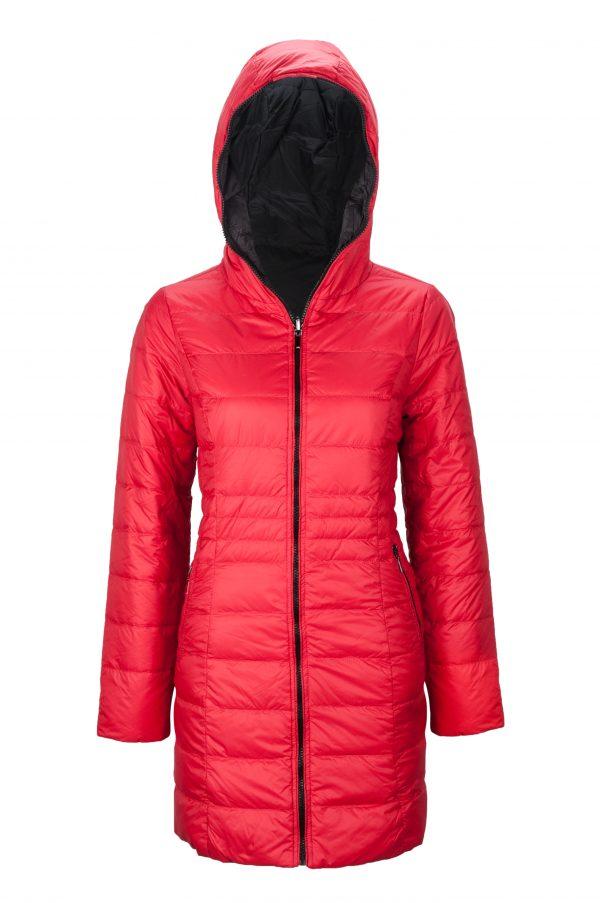 Reversible-three-quarter-Length-Down-Jacket-red