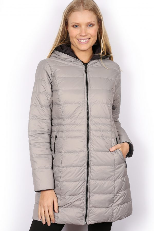 Reversible-three-quarter-Length-Down-Jacket-silver-front