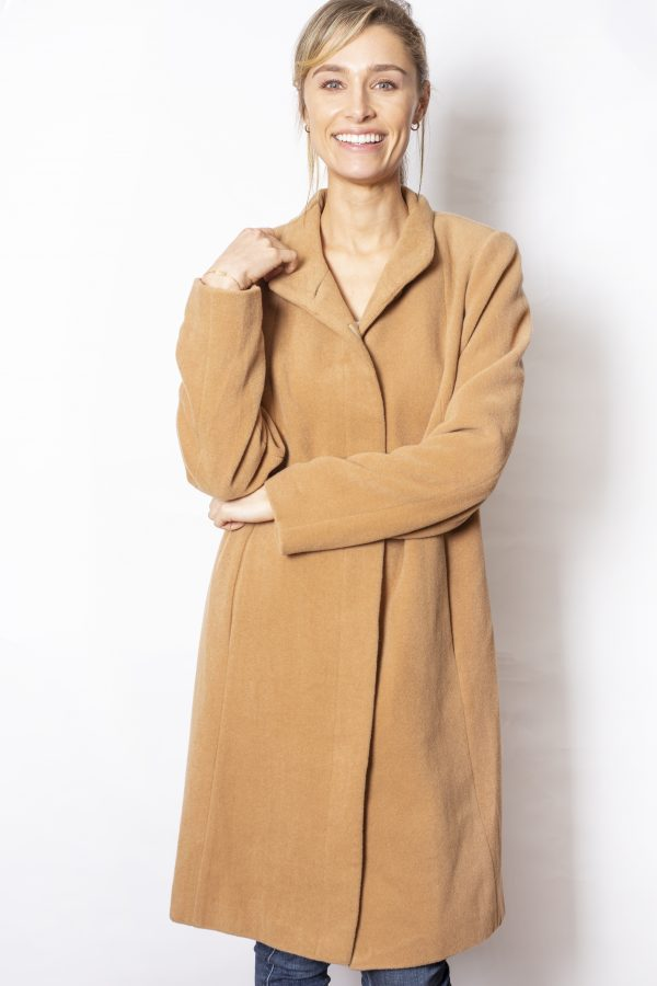 Funnel-Neck-One-Button-Coat-front-camel