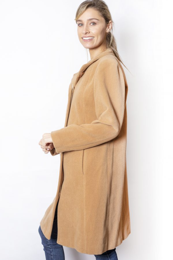 Funnel-Neck-One-Button-Coat-side-camel